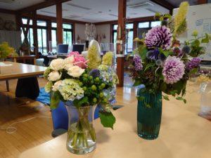 装飾ゼミ室に飾られた花