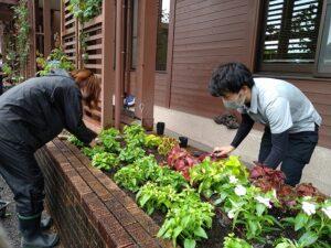 植栽をする学生